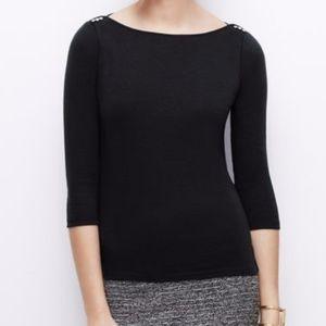 Ann Taylor Black Three Quarter T-Shirt
